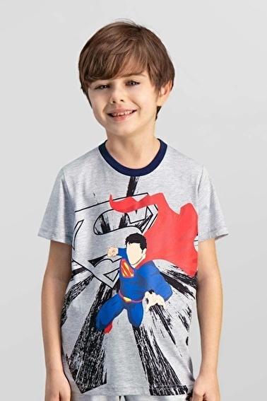 Superman  Lisanslı Krem Erkek Çocuk T-Shirt Gri